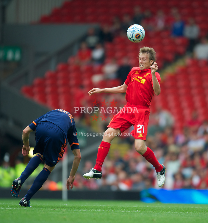 LIVERPOOL, ENGLAND - Sunday, August 12, 2012: Liverpool's Lucas Leiva in action against Bayer 04 Leverkusen during a preseason friendly match at Anfield. (Pic by David Rawcliffe/Propaganda)