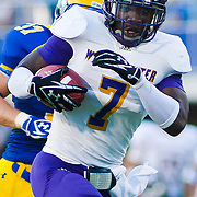 West Chester Wide receiver LaRonn Lee #7 carries the ball for 68 yards and a first down during a Week 2 NCAA football game against Delaware in the second quarter. ..Lee finished with 111 yards receiving as #8 Delaware defeated Westchester 31-10  in their home opener at Delaware Stadium Saturday Sept. 10, 2011 in Newark DE...Delaware will return home Sept. 17, 2011 for a showdown with interstate Rival Delaware State at 6:pm at Delaware Stadium. (Monsterphoto/Saquan Stimpson)