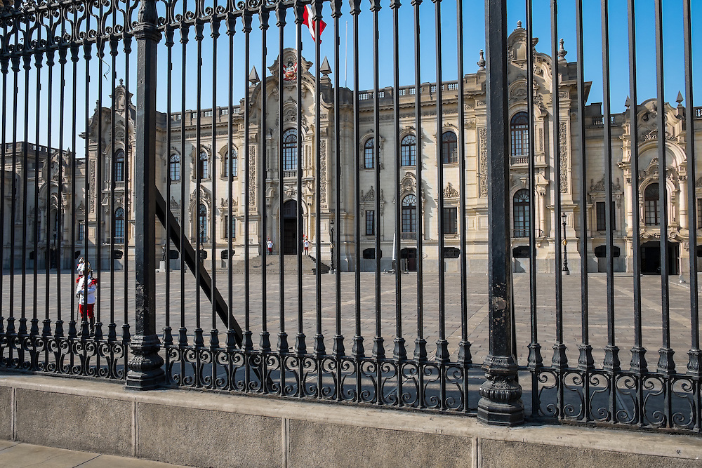 LIMA, PERU - CIRCA APRIL 2014: View of the Government Palace in the Lima Historic Centre in Peru