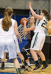 Bluefield center Dani Janutolo (32) shoots along the baseline against Wyoming East during a first round game at the Charleston Civic Center.