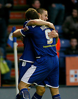 Photo: Steve Bond/Richard Lane Photography. Leicester City v Peterborough United. Coca-Cola Football League One. 20/12/2008. Matty Fryatt (back) celebrates scoring with Steve Howard