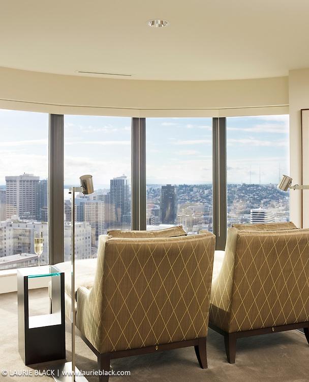 Condo living room city view