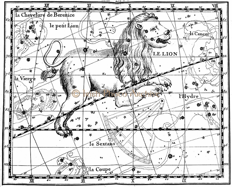 Constellation of Leo from JJ Fortin 'Atlas Coelestis de Flamsteed' Paris 1775. Copperplate engraving