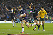 No Sales, Syndication or Archive <br /> <br /> Autumn Tests<br /> Scotland v Australia Saturday 25th November 2017, BT Murrayfield, Edinburgh.<br /> <br /> Jonny Gray of Scotland scores under the posts<br /> <br /> <br /> <br />  Neil Hanna Photography<br /> www.neilhannaphotography.co.uk<br /> 07702 246823