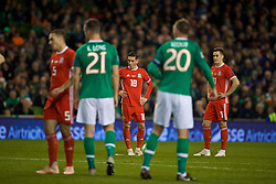 DUBLIN, IRELAND - Tuesday, October 16, 2018: Wales' Harry Wilson sets up to score the winning goal from a free-kick during the UEFA Nations League Group Stage League B Group 4 match between Republic of Ireland and Wales at the Aviva Stadium. Wales won 1-0. (Pic by David Rawcliffe/Propaganda)