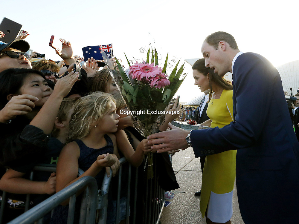 April 16, 2014 - Sydney, AUSTRALIA - <br /> <br /> Prince William and Kate, Duchess of Cambridge<br /> <br />  Britain's Prince William, right, and his wife Kate, the  Duchess of Cambridge, second from right, meet with people  on the steps of the Sydney Opera House following a  reception in Sydney, Australia, Wednesday, April 16, 2014.  The royal couple, along with their son Prince George, are on  a 10-day official visit.<br /> &copy;Exclusivepix