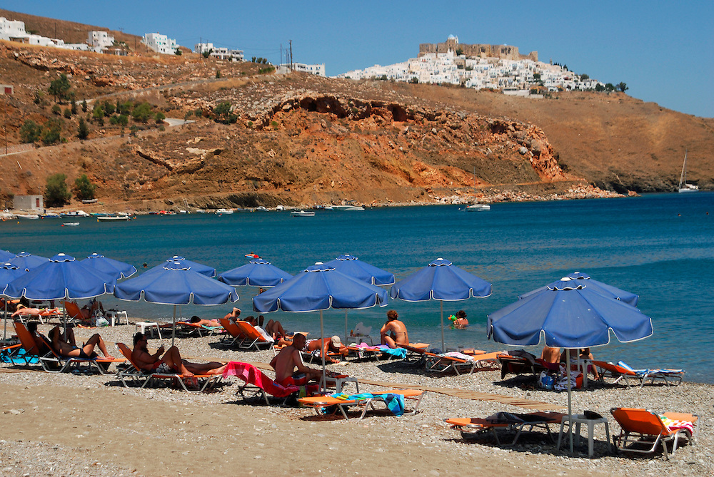 Summer image of the town of Livadi, Astypalaia island, Dodecanese islands, Greece.
