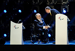 Sir Philip Craven and Carlos Arthur Nuzman at Closing Ceremony during Day 11 of the Rio 2016 Summer Paralympics Games on September 18, 2016 in Maracanã Stadium, Rio de Janeiro, Brazil. Photo by Vid Ponikvar / Sportida