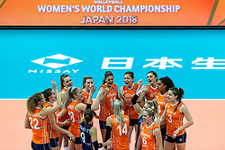 07-10-2018 JPN: World Championship Volleyball Women day 8, Nagoya<br /> Netherlands - Puerto Rico 3-0 / Team NL celebrate