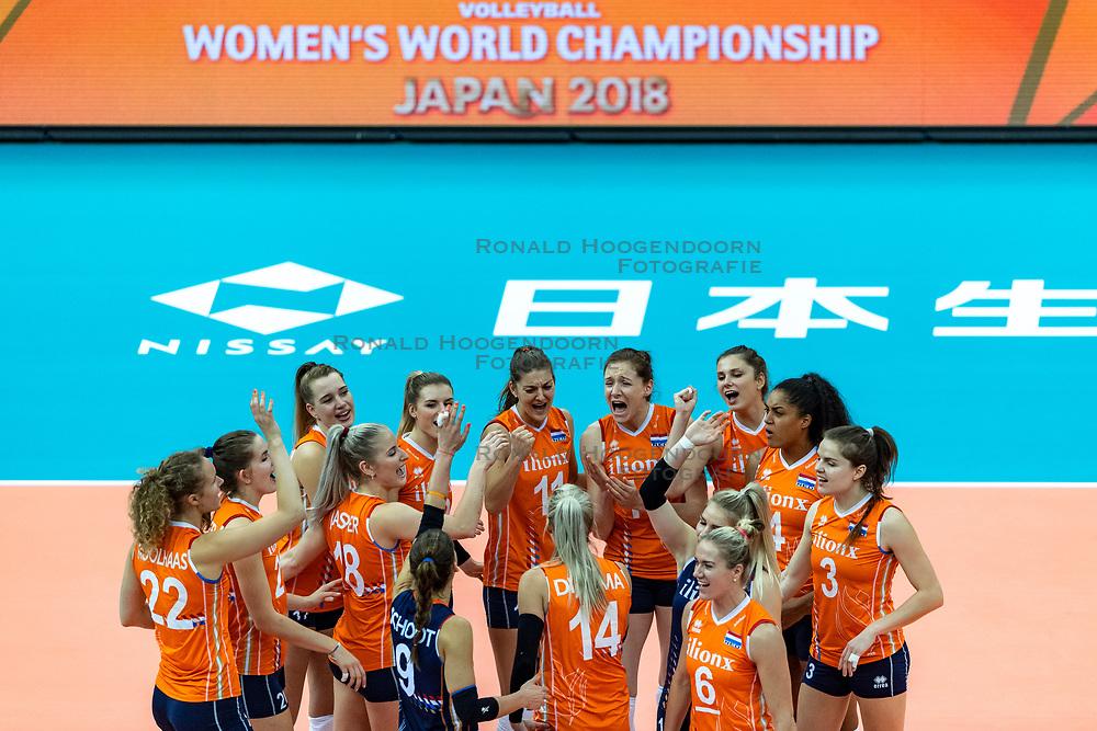 07-10-2018 JPN: World Championship Volleyball Women day 8, Nagoya<br /> Netherlands - Puerto Rico 3-0 / Team NL celebrate