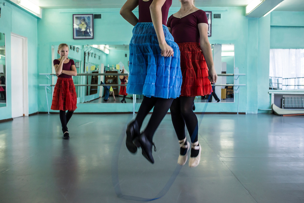 Ballet students jump rope during rehearsal at a school for the arts on Tuesday, October 22, 2013 in Baikalsk, Russia.