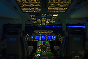 Cockpit of a Boeing 767-400ER flight simulator, built by CAE in Canada.