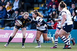 Vicky Laflin of Worcester Warriors Women takes on Daisie Mayes of Bristol Bears Women - Mandatory by-line: Robbie Stephenson/JMP - 01/12/2019 - RUGBY - Sixways Stadium - Worcester, England - Worcester Warriors Women v Bristol Bears Women - Tyrrells Premier 15s