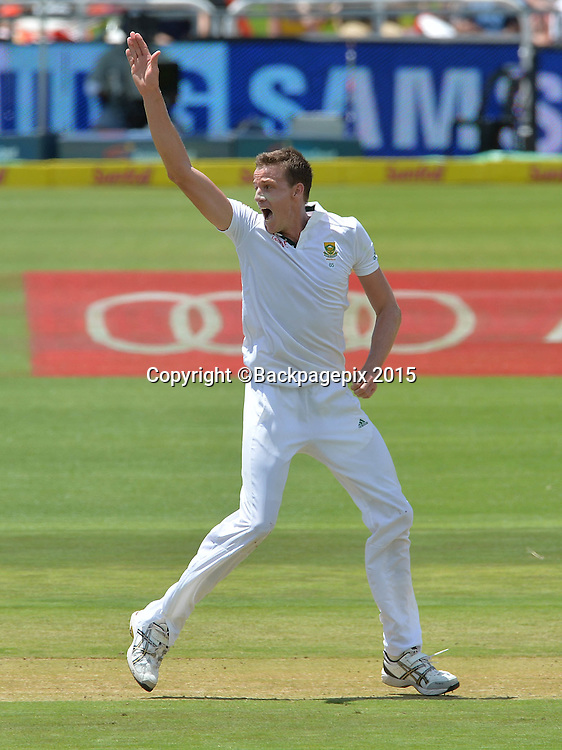 Morne Morkel of South Africa appeals unsuccessfully against Leon Johnson of the West Indies during Day 1 of the 2015 Sunfoil Test Series Cricket Match between South Africa and the West Indies at Newlands Stadium, Cape Town on 2 January 2015 ©Chris Ricco/BackpagePix