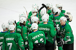 Players of Olimpija celebrate after winning during Ice Hockey match between HK SZ Olimpija and EHC Alge Elastic Lustenau in Semifinal of Alps Hockey League 2018/19, on April 1, 2019, in Arena Tivoli, Ljubljana, Slovenia. Photo by Vid Ponikvar / Sportida