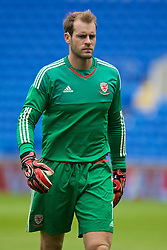 CARDIFF, WALES - Friday, June 5, 2015: Wales' goalkeeper Owain Fon Williams during a practice match at the Cardiff City Stadium ahead of the UEFA Euro 2016 Qualifying Round Group B match against Belgium. (Pic by David Rawcliffe/Propaganda)
