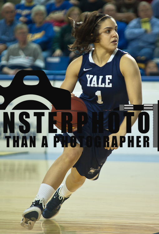 12/05/11 Newark DE: Yale freshmen guard  Sarah Halejian #1 advances the ball up court during a game against the Fightin Blue Hens, Dec. 5, 2011 at the Bob carpenter center in Newark Delaware.<br /> <br /> No. 22 Delaware (7-0) defeated Yale (4-3) 77-45 continuing their best start in school history behind Elena Delle Donne 28 point scoring effort.