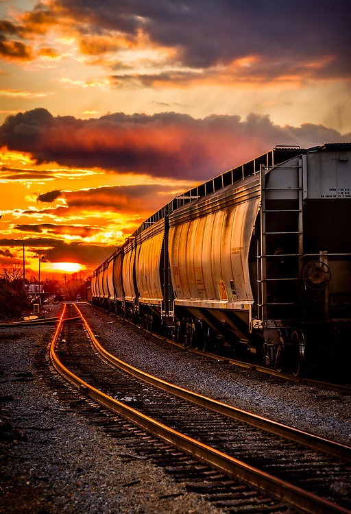 Sunset captured at the Norfolk Southern Pomona Yard in Greensboro, North Carolina, Oakland Ave