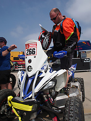 January 5, 2019 - Lima, Lima, Peru - Yamaha 266, Benoit Aubrion from France, Nomade Racing team, passing the technical scrutineering. The Dakar rally runs this year 100% in Peru. (Credit Image: © Carlos Garcia Granthon/ZUMA Wire)
