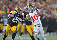 November 20 2010: Ohio State Buckeyes wide receiver Corey Brown (10) can't pull in a pass as Iowa Hawkeyes cornerback Shaun Prater (28) defends during the second quarter of the NCAA football game between the Ohio State Buckeyes and the Iowa Hawkeyes at Kinnick Stadium in Iowa City, Iowa on Saturday November 20, 2010. Ohio State defeated Iowa 20-17.