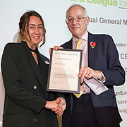 Digby Nelson presenting the John Sunley prize to Olivia Tolaini. The Howard League for Penal Reform 'Policing the community' conference and Community Awards 2017. The King's Fund, London, 8 November 2017