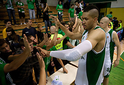 Jerome A. Jordan and Edo Muric with fans after the basketball match between KK Krka and Maccabi Electra Tel-Aviv in 1st Round of ABA League, on October 1, 2011, in Arena Leon Stukelj, Slovenia. Maccabi defeated Krka 83-68. (Photo by Vid Ponikvar / Sportida)