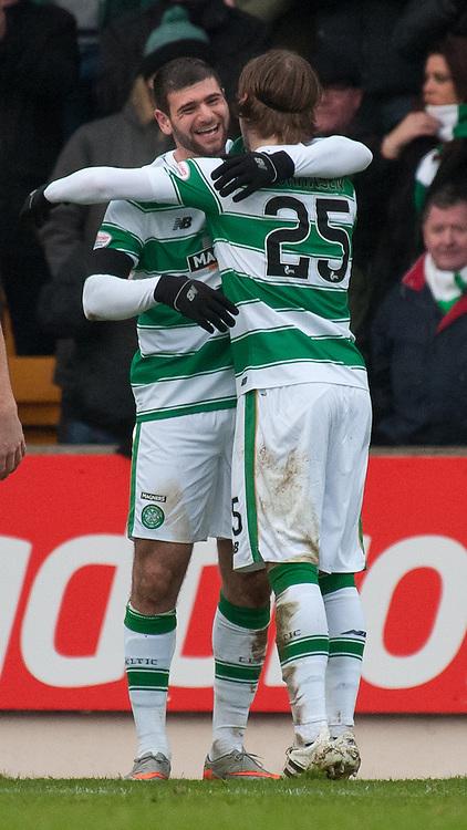 #7 Nadir Ciftci (Celtic) celebrates with #25 Stefan Johansen (Celtic)<br /> <br /> St Johnstone v Celtic &bull; Ladbrokes Premiership &bull; 13 December 2015<br /> <br /> &copy; Russel Hutcheson | SportPix.org.uk