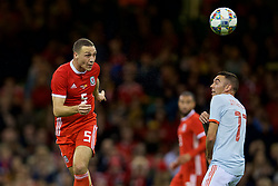 CARDIFF, WALES - Thursday, October 11, 2018: Wales' James Chester during the International Friendly match between Wales and Spain at the Principality Stadium. (Pic by David Rawcliffe/Propaganda)