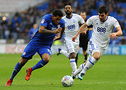 Nathaniel Mendez-Laing of Cardiff City competes with Maxime Colin of Birmingham City- Mandatory by-line: Nizaam Jones/JMP - 10/03/2018 -  FOOTBALL -  Cardiff City Stadium- Cardiff, Wales -  Cardiff City v Birmingham City - Sky Bet Championship