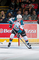 KELOWNA, CANADA - JANUARY 4: Lucas Johansen #7 of the Kelowna Rockets skates against the Spokane Chiefs on January 4, 2017 at Prospera Place in Kelowna, British Columbia, Canada.  (Photo by Marissa Baecker/Shoot the Breeze)  *** Local Caption ***