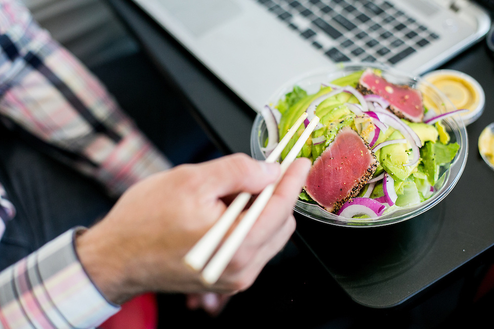 BROOKLYN, NY - JUNE 6, 2016: Elliot Schreiber eats a black pepper tuna salad at Noribar Sushi Lounge in the Borough Park neighborhood of Brooklyn, New York. CREDIT: Sam Hodgson for The New York Times.