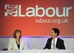 © under license to London News Pictures. LONDON, UK  03/05/2011. Labour Leader Ed Miliband holds a press conference with Harriet Harmen at the party's HQ this morning (03 May 2011). The Conference was to urge people to vote in favour of a yes vote at the forth coming AV Referendum. Photo credit should read Stephen Simpson/LNP.