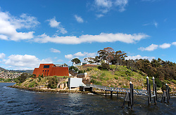 MONA Gallery at Berriedale, Tasmania, just outside Hobart on a windy summer day.