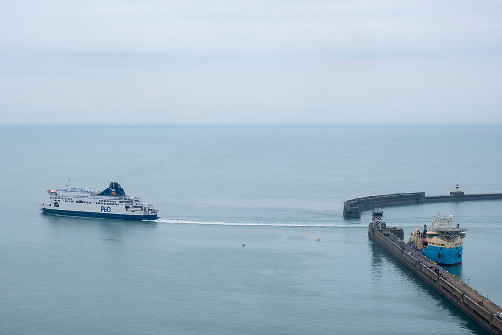 A P&O ferry departing from the Eastern Dock of the Port of Dover, where the cross channel port is situated with ferries departing here to go to Calais in France. Dover, Kent, United Kingdom.  Dover is the nearest port to France with just 34 kilometres (21 miles) between them. It is one of the busiest ports in the world. As well as freight container ships it is also the main port for P&O and DFDS Seaways ferries.  (photo by Andrew Aitchison / In pictures via Getty Images)