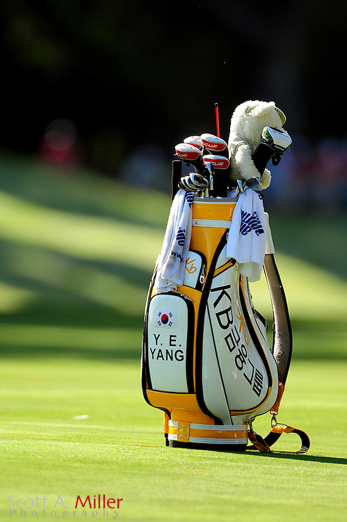 Y.E. Yang's bag sit on the fairway during the second round of the Players Championship at the TPC Sawgrass on May 11, 2012 in Ponte Vedra, Fla. ..©2012 Scott A. Miller..