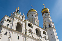 Architectural detail of The Ivan the Great Bell Tower and Assumption Belfry on Cathedral Square in the Moscow Kremlin