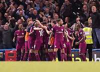 Football - 2017 / 2018 Premier League - Chelsea vs Manchester City<br /> <br /> Manchester City players celebrate with their fans after scoring at Stamford Bridge <br /> <br /> COLORSPORT/DANIEL BEARHAM