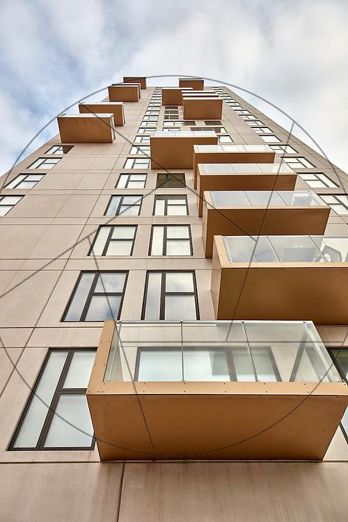 """Øresundstårnet, Amager Strand, """"Lille Manhattan"""", Lejligheder, Danica , eksteriør, altaner, facader"""