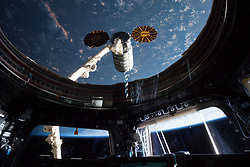 May 24, 2018 - Space - This view taken from inside the Cupola shows the Orbital ATK space freighter moments before it was grappled with the Canadarm2 robotic arm. (Credit Image: ? NASA/ZUMA Wire/ZUMAPRESS.com)