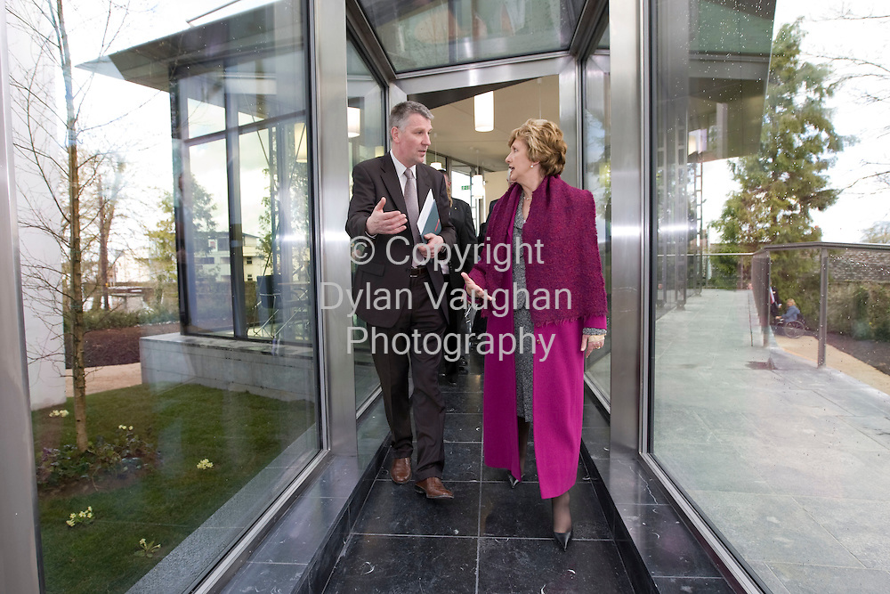 11/4/2008.Heritage Council Moves to New Headquarters in Kilkenny..President of Ireland Mary McAleese opened two historically important sites in Kilkenny today (11th April), the new headquarters and permanent home for the Heritage Council in the former Bishop's Palace in the Cathedral quarter of the City, and Rothe House gardens..Pictured at the opening of the Heritage Council was the President Mary McAleese and Michael Starrett chief executive of the Heritage Council..Picture Dylan Vaughan