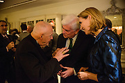 "Photo by Matt Roth.Assignment ID: 10137379A..Theodore Cardinal Edgar McCarrick talks with former senator Chris Dodd, head of the Motion Picture Association of America, and his wife Jackie Clegg Dodd during the Buffy and Bill Cafritz, Ann and Vernon Jordan, Vicki and Roger Sant inaugural ""Bi-Partisan Celebration"" at the Dolley Madison Ballroom at the Madison Hotel in Washington, D.C. on Sunday, January 20, 2013."