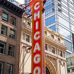Chicago sign on the Chicago Theater. The Chicago Theatre is a popular concert venue and is a landmark listed with the National Register of Historic Places.