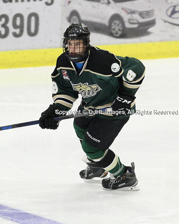 COBOURG, ON  - NOV 28,  2016: Ontario Junior Hockey League game between Kingston and Cobourg, Chad Yetman #18 of the Cobourg Cougars follows the play during the second period.<br /> (Photo by Tim Bates / OJHL Images)