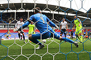 Bolton Wanderers striker Gary Madine (14) scores to make it 1-2 during the EFL Sky Bet Championship match between Bolton Wanderers and Derby County at the Macron Stadium, Bolton, England on 19 August 2017. Photo by Craig Galloway.