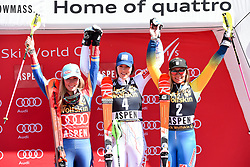 18.03.2017, Aspen, USA, FIS Weltcup Ski Alpin, Finale 2017, Slalom, Damen, Siegerehrung, im Bild Mikaela Shiffrin (USA, 2. Platz und Slalom-Weltcupsiegerin)Petra Vlhova (SVK, 1. Platz)Frida Hansdotter (SWE, 3. Platz) // ssecond placed and Slalom World Cup winner Mikaela Shiffrin of the USArace winner Petra Vlhova of Slovakiathird placed Frida Hansdotter of Sweden during the winner award ceremony for the ladie's Slalom of 2017 FIS ski alpine world cup finals. Aspen, United Staates on 2017/03/18. EXPA Pictures © 2017, PhotoCredit: EXPA/ Erich Spiess