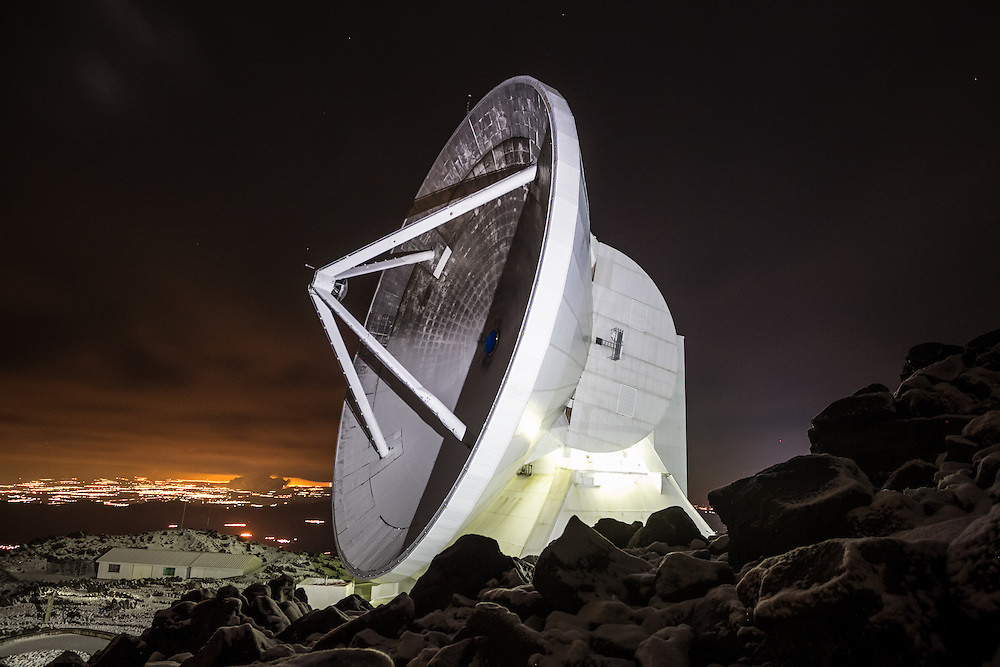 "PICO DE ORIZABA NATIONAL PARK, PUEBLA, MEXICO - MARCH 24, 2015:  The Large Millimeter Telescope Alfonso Serrano (LMT) also known by its Spanish name:  ""Gran Telescopio Milimétrico Alfonso Serrano"" as seen at night.  The LMT observatory is constructed on the summit of the dormant volcano Sierra Negra, at an altitude of 15,092 feet and is the world´s largest single-dish steerable millimetre-wavelength telescope designed specifically for astronomical observations in the wavelength range of 0.85 – 4mm.  CREDIT:  Meridith Kohut for The New York Times"