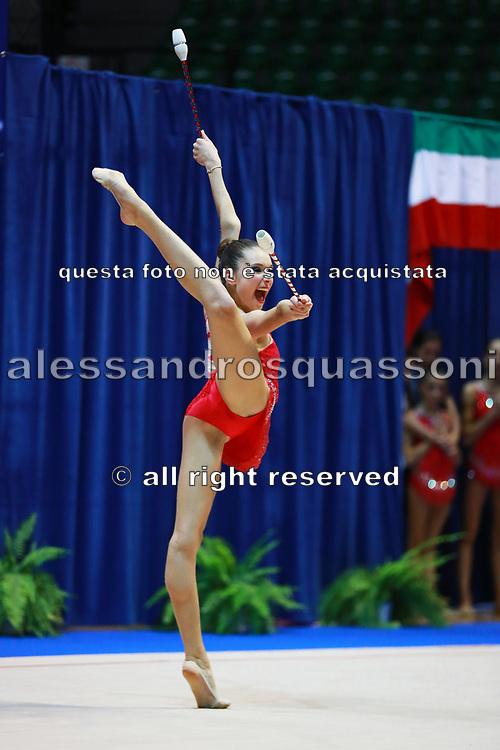 Asia Massetti atleta della Società Petrarca Arezzo durante la seconda prova del Campionato Italiano di Ginnastica Ritmica.<br /> La gara si è svolta a Desio il 31 ottobre 2015.