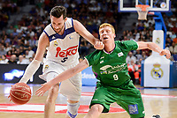 Real Madrid's Rudy Fernandez and Unicaja Malaga's Alberto Diaz during semi finals of playoff Liga Endesa match between Real Madrid and Unicaja Malaga at Wizink Center in Madrid, June 02, 2017. Spain.<br /> (ALTERPHOTOS/BorjaB.Hojas)