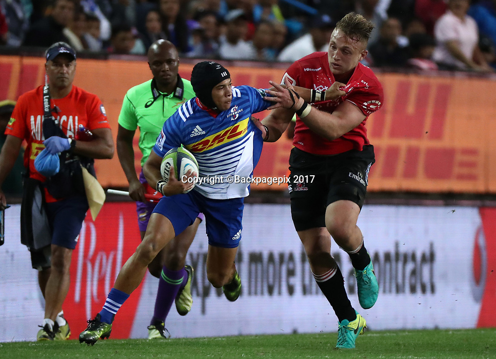 Cheslin Kolbe of the Stormers tackled by Ruan Ackermann of the Lions during the 2017 Super Rugby match between the Stormers and the Lions at Newlands Stadium, Cape Town, 15 April 2017 ©Chris Ricco/BackpagePix / www.photosport.nz