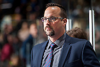 KELOWNA, CANADA - NOVEMBER 26: Kelowna Rockets' assistant coach, Kris Mallette, stands on the bench against the Regina Pats on November 26, 2016 at Prospera Place in Kelowna, British Columbia, Canada.  (Photo by Marissa Baecker/Shoot the Breeze)  *** Local Caption ***
